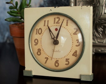 Art Deco Westclox Enamel Electric Alarm Clock RED DOT 1940 's Logan