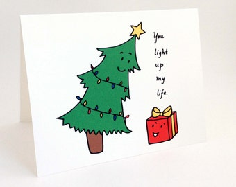 Cute Christmas Card // Punny Holiday Card // Whimsical Christmas Tree Card // Humorous Christmas Love Card // You Light Up My Life