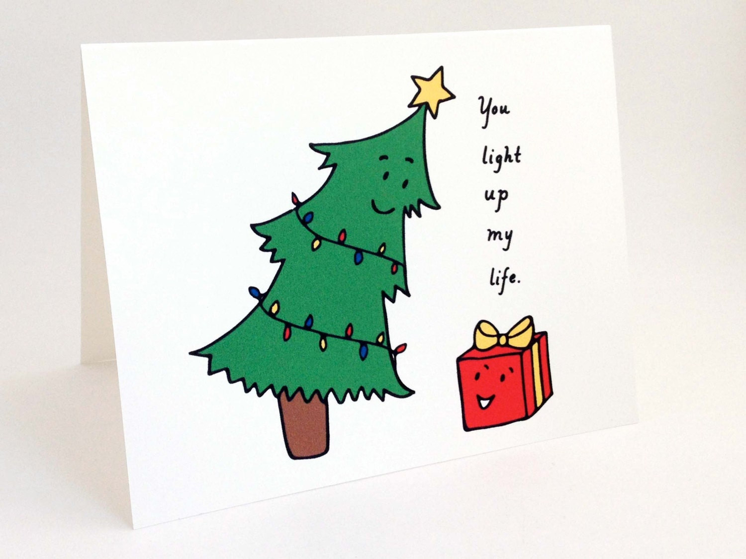 Cute christmas card punny holiday card whimsical description you light up my life cute christmas card m4hsunfo Gallery