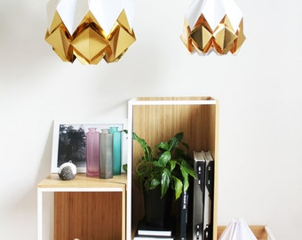 L size Glamorours origami lampshades | deep gold pendent light | Contemporary design to give your home a little bit of sparkle and glamour