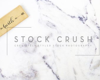 Stock Image Marble Background with Gold Hustle Makeup Bag / Styled Stock Photography / Stock Photo / Styled Stock Photos / Blank Background