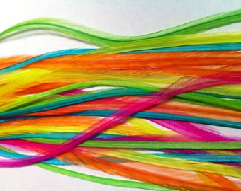 Neon Feather Hair Extensions Long Crimp In Hair Feathers for Feather Extensions 5 Loose Bright Hair Plumes