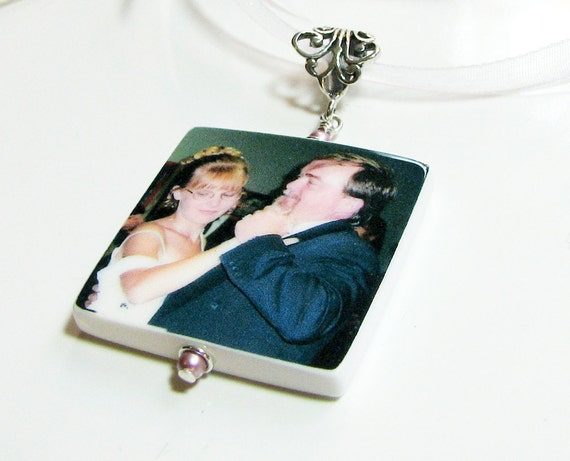 Special Message Bouquet Memorial Charm With Fancy Bail - Lg. Photo Memorial - BC1F
