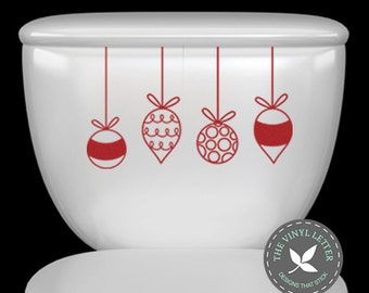 Hanging Ornaments Toilet Vinyl Christmas Decal Sticker