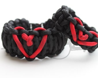 His King Cobra & Her Cobra Heart Ribbon 550 Paracord Survival Strap Bracelet w/ Buckle