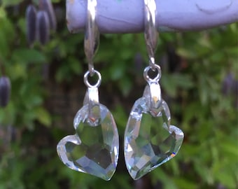 Clear Crystal Heart Swarovski Earrings Sterling Silver