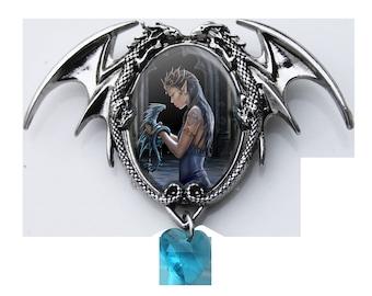 Enchanted Water Dragon Cameo Choker Necklace -magickal Pendulum, Magickal Pendant,esoteric jewelry, enchanted jewelry,magickal jewellery