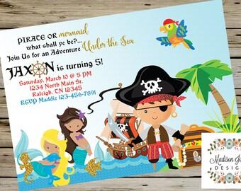 PIRATES and MERMAIDS BIRTHDAY Invitation, Pirate Invitation, Mermaid Invitation, Customized Digital Printable, Pirates & Mermaids