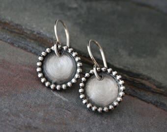 Wayfarer Earrings Sterling Silver Dangle Drop Round Earring French Ear Wires Circle Granulation Eternity Full Moon Disk Handmade Jewelry