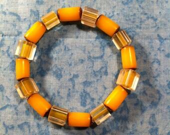 Cane Glass Stretch Bracelet - Yellow