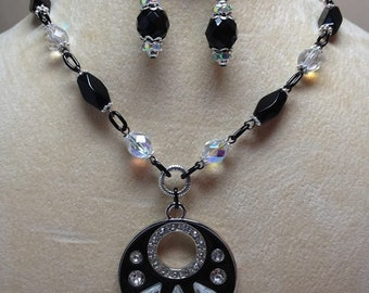 Black And Silver Crystal Necklace And Earring Set