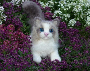 Needle Felted Cat / Custom Miniature Sculpture of your pet / Cute / poseable by Gourmet Felted / example Ragdoll