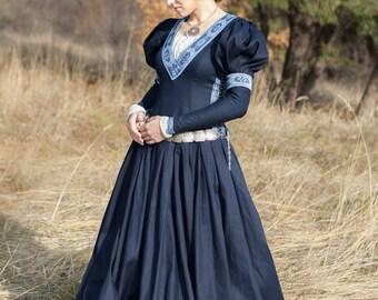 "Medieval Cotton Fantasy Dress ""Lost Princess""; Long Dress; Women's Dress; Medieval Dress"