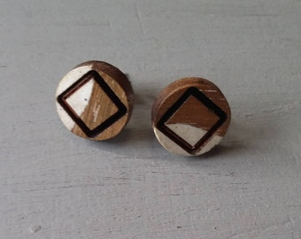 Wooden Stud earrings, White Epoxy Resin design, stainless steel posts