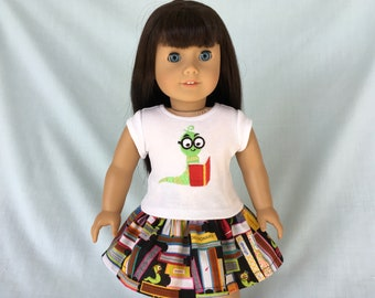 Bookworm T-Shirt and Skirt for American Girl/18 Inch Doll