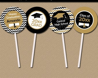 Graduation Cupcake Topper Printable - EDITABLE Class of 2018 Cupcake Toppers - Black Gold Cupcake Picks - Graduation Party Decorations G3