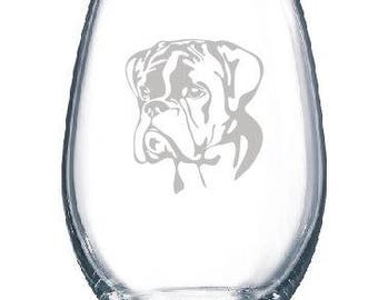Professionally Engraved Boxer Dog Glass - Dog Lover Gift - Profits Benefit Rescue - Wine Glass Stemmed or Stemless