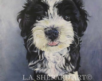 "HAVANESE dog portrait art canvas PRINT of LAShepard painting 8x8"""