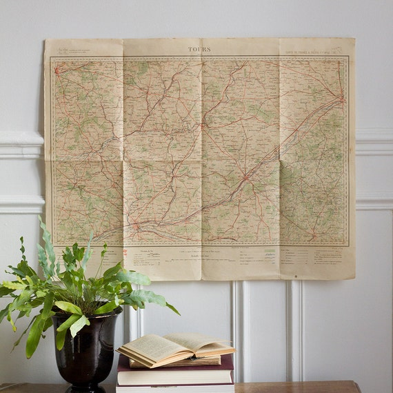Antique French Military Map - Tours