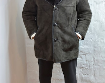 Vintage Mens Sheepskin Suede Shearling Coat double breasted HANDMADE Brown Shearling Coat Size M