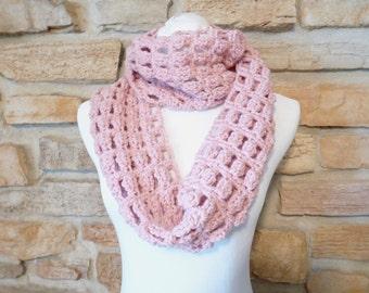 Pink scarf handmade crochet pink neck warmer, cowl scarf