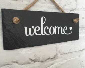Welcome sign.  Welcome slate sign,House sign. Welcome plaque. Front door sign. Outdoor sign. Slate,  Front yard sign. Welcome door sign.