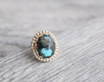Small turquoise ring round turquoise ring sterling silver ring turquoise jewelry southwestern ring southwestern jewelry