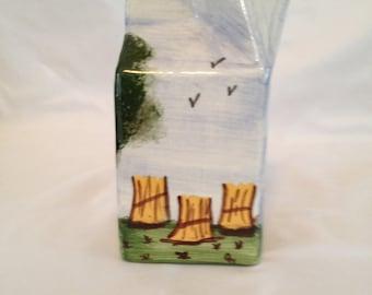 Vintage porcelain milk carton figurine