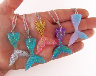 Mermaid tail necklace, personalized mermaid party favors, custom mermaid necklaces, mermaid party favor, girls party favor, kids birthday