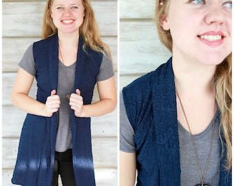 Long Vest, Gift for Her, Sleeveless Cardigan, Sweater Vest, Womens Vests, Blazer Vest, Business Wear, Jacquard Print, Made in Canada