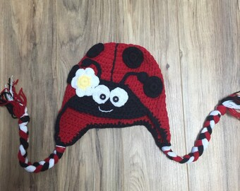 red lady bug crochet hat, ladybug knit hat, ladybug hat, crochet ladybug hay, crochet lady bug hat