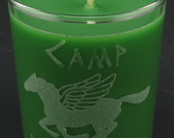 Percy Jackson Camp Half-Blood Laser Etched Green Mini Candle Scented with Himalayan Bamboo
