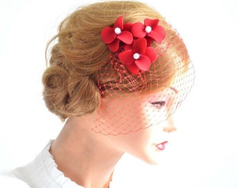 Birdcage veil flower headpiece in red Bridal veil fascinator Bridal headpiece Head piece Orange hair flowers Flower headpiece