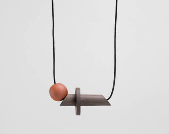 Io Necklace in black stoneware and terracotta clay | handmade ceramic jewellery by Labrador