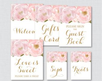 Pink Floral Bridal Shower Table Signs - Printable Blush Pink and Gold Garden Bridal Shower Decorations - Welcome Sign, Favor Sign, etc 0007