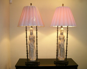 Keely Smith estate mid century enormous Asian lamps pair