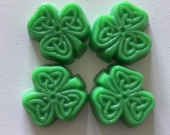 Irish Green Clover Soaps, set of 4 soaps, Handmade Novelty Art Soap, St.Patrick's Day, Guest Soap, Spring Soap, Celtic Design, Ready To Ship