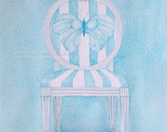 watercolor butterfly french chair print of original watercolor-chair painting-carol sapp-french chair painting-blue butterfly art