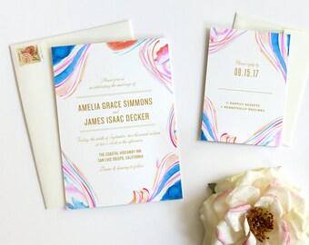 Marble Wedding Invitation, Boho Wedding Invitation - Deposit Payment