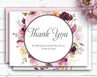 Marsala Wedding Thank You, Customized Wedding, Marsala Watercolour Printable Cards, Greeting Cards, Printable Thank You, Floral Thank You