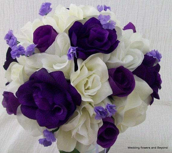 Black Wedding Flowers: Purple Ivory And Black Wedding Flowers Bridal Bouquet Rose