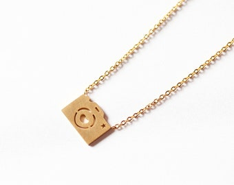 Stainless Steel Gold Camera Necklace