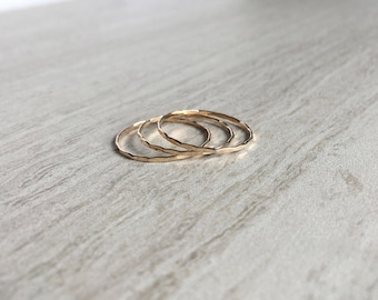 Set of 3 14k Gold Hammered Stacking Rings, Handmade Solid Gold Rings, Thin Stacking Rings