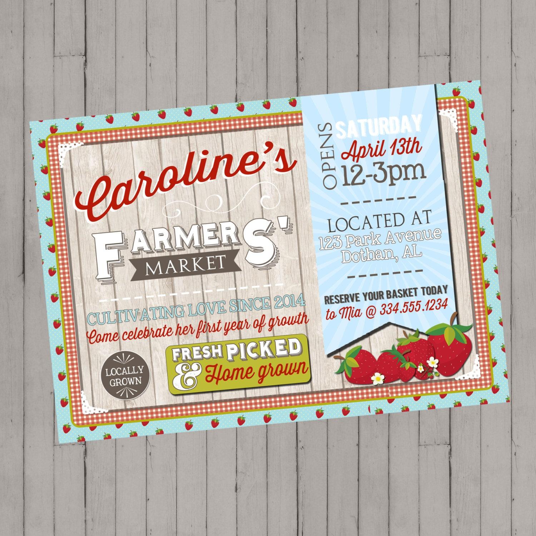 Farmers\' Market Invitation Freshly Picked Market Garden