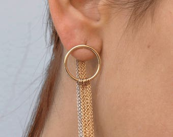 Gold Earrings, Gold Dangle Earrings, 14K Gold Earrings, Long Dangle Earrings, Chain Dangle Earrings, Gold Chain Earring, Open Circle Earring