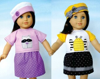 18 inch Doll Clothing Sewing Pattern -  Hats, Skirts and Raglan Sleeve Shirts - PDF e-Pattern
