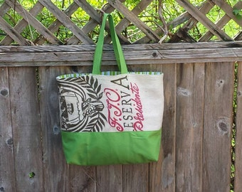 Upcycled Burlap Tote Bag - Reclaimed Burlap Coffee Bean Sack - Off White, Lime Green Cordura - Cotton Striped Lining