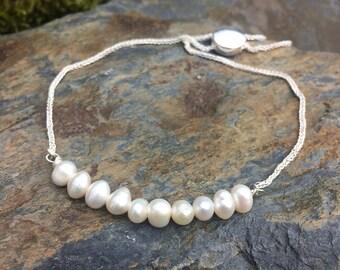 Sterling Silver freshwater Cultured Pearl Slider Bracelet