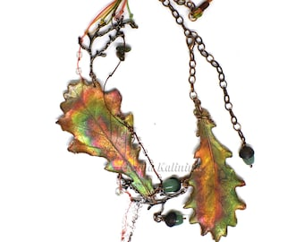 Autumn Forest Oak Leaf Necklace | Real oak leaf necklace | Copper oak leaf | Big colorful boho necklace 2017