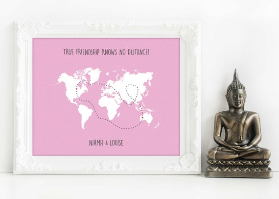 Across the miles personalised map long distance love gift gumiabroncs Choice Image